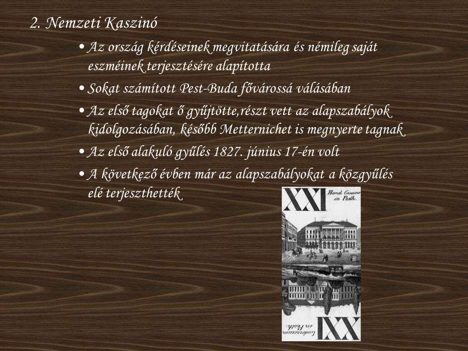 2. Nemzeti Kaszinó Az ország kérdéseinek megvitatására és némileg saját eszméinek terjesztésére alapította.