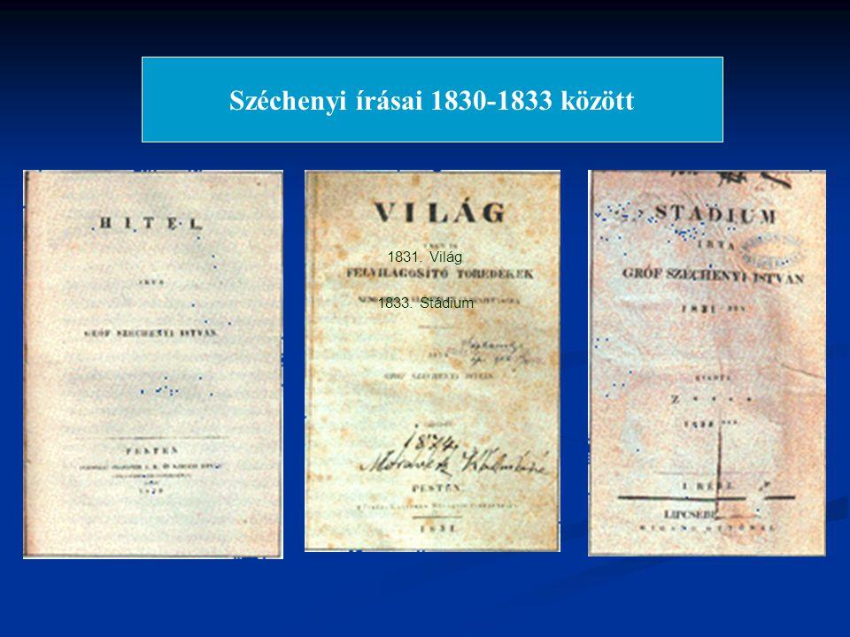 Széchenyi írásai 1830-1833 között