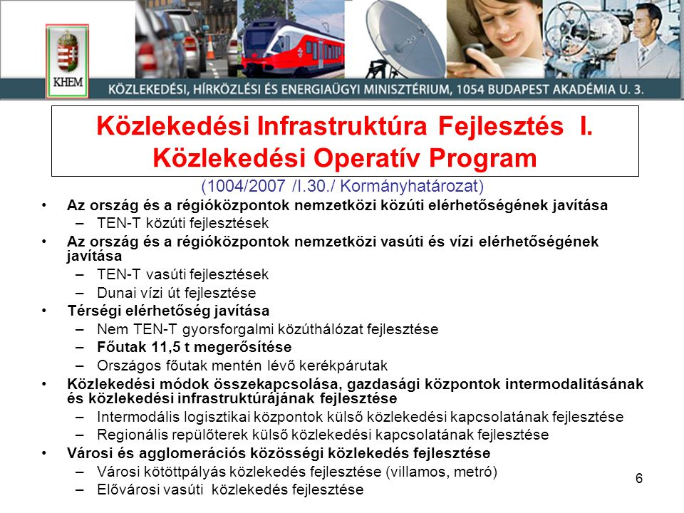 Közlekedési Infrastruktúra Fejlesztés I. Közlekedési Operatív Program