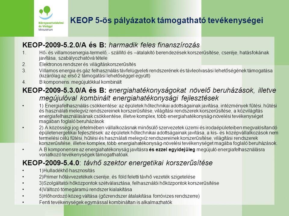 KEOP 5-ös pályázatok támogatható tevékenységei