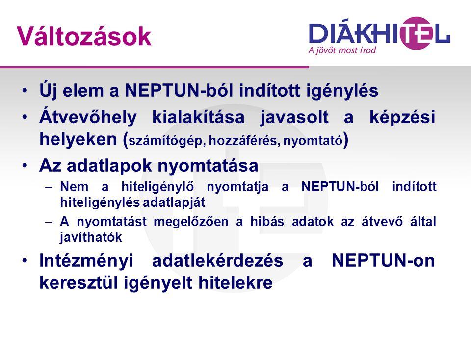 Változások Új elem a NEPTUN-ból indított igénylés