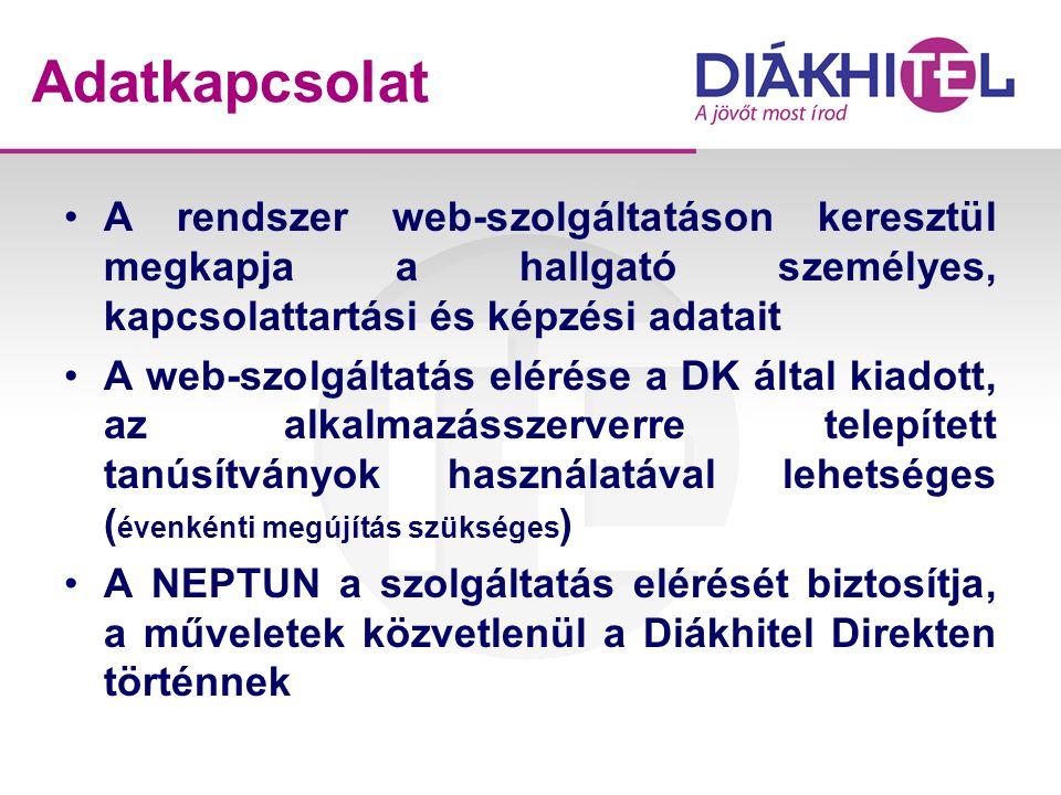 Adatkapcsolat A rendszer web-szolgáltatáson keresztül megkapja a hallgató személyes, kapcsolattartási és képzési adatait.