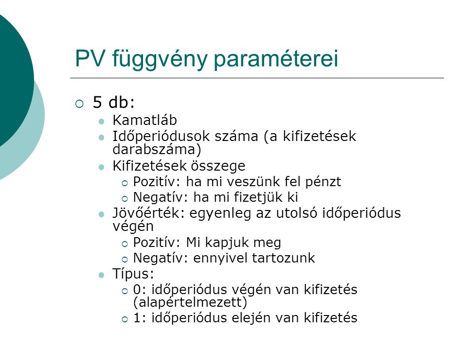 PV függvény paraméterei