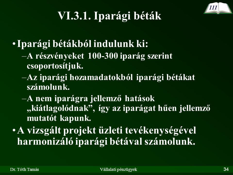 VI.3.1. Iparági béták Iparági bétákból indulunk ki:
