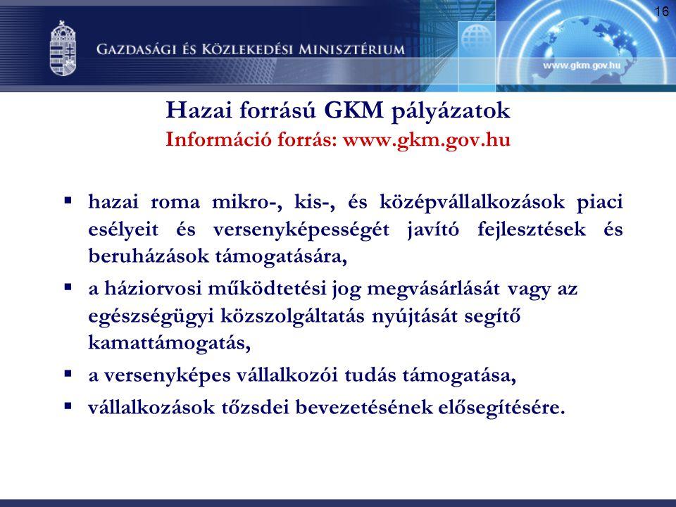 Hazai forrású GKM pályázatok Információ forrás: www.gkm.gov.hu