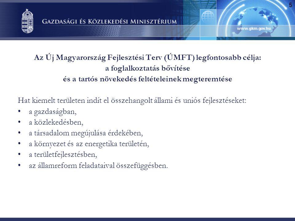 Az Új Magyarország Fejlesztési Terv (ÚMFT) legfontosabb célja: