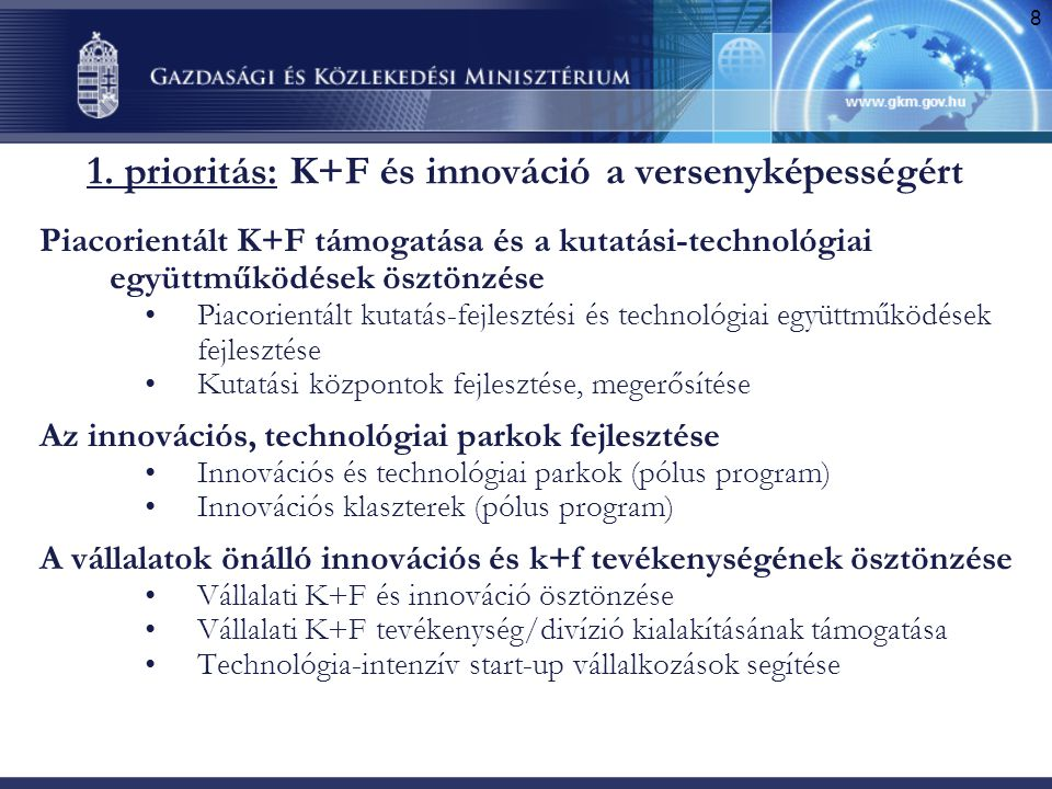 1. prioritás: K+F és innováció a versenyképességért
