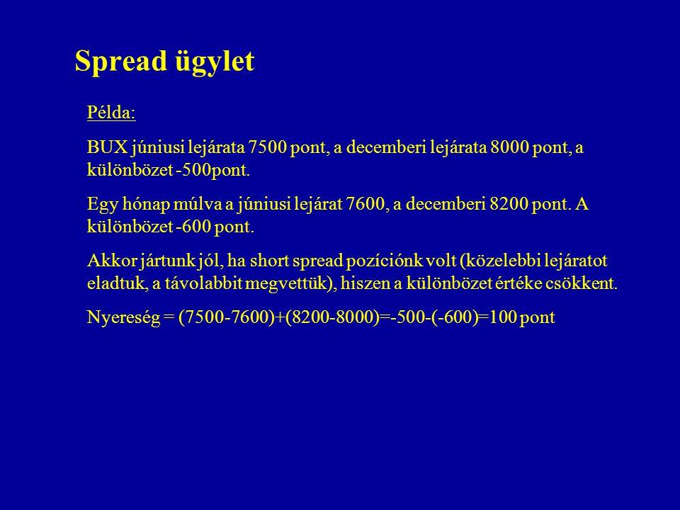 Spread ügylet Példa: BUX júniusi lejárata 7500 pont, a decemberi lejárata 8000 pont, a különbözet -500pont.