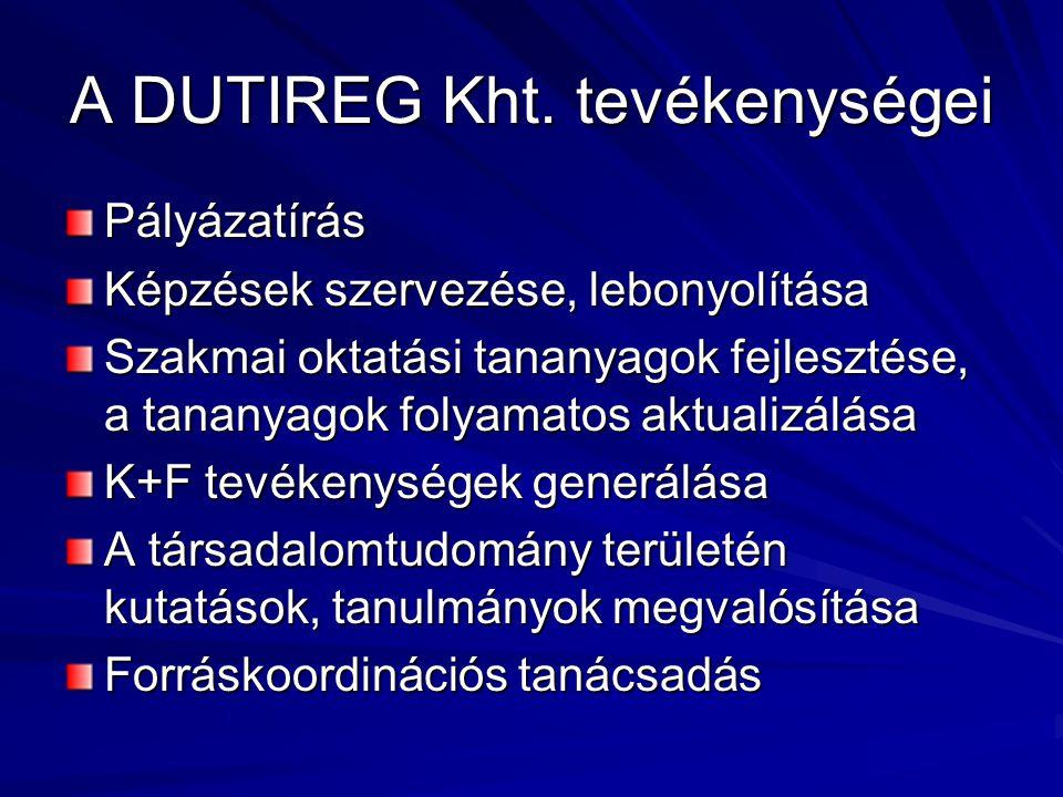 A DUTIREG Kht. tevékenységei