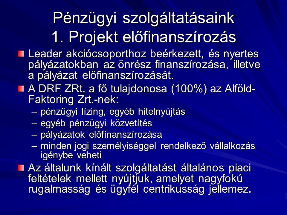 Pénzügyi szolgáltatásaink 1. Projekt előfinanszírozás