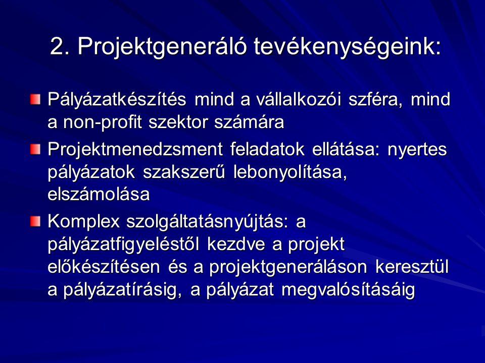 2. Projektgeneráló tevékenységeink: