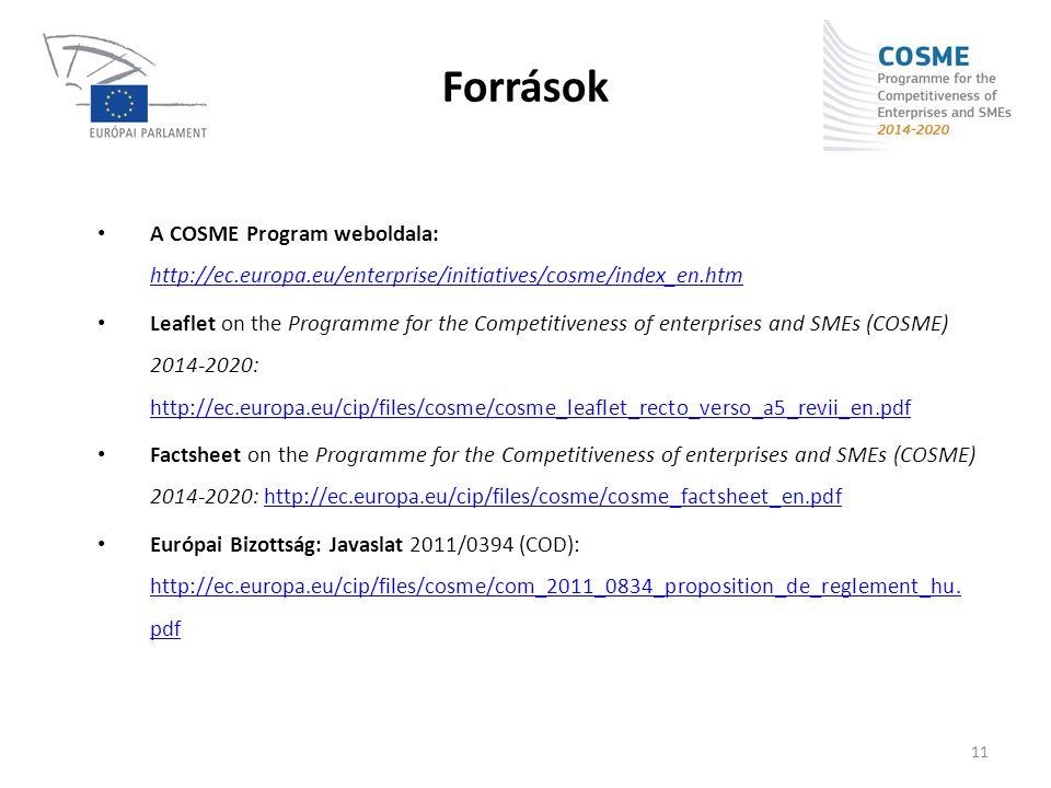 Források A COSME Program weboldala: http://ec.europa.eu/enterprise/initiatives/cosme/index_en.htm.