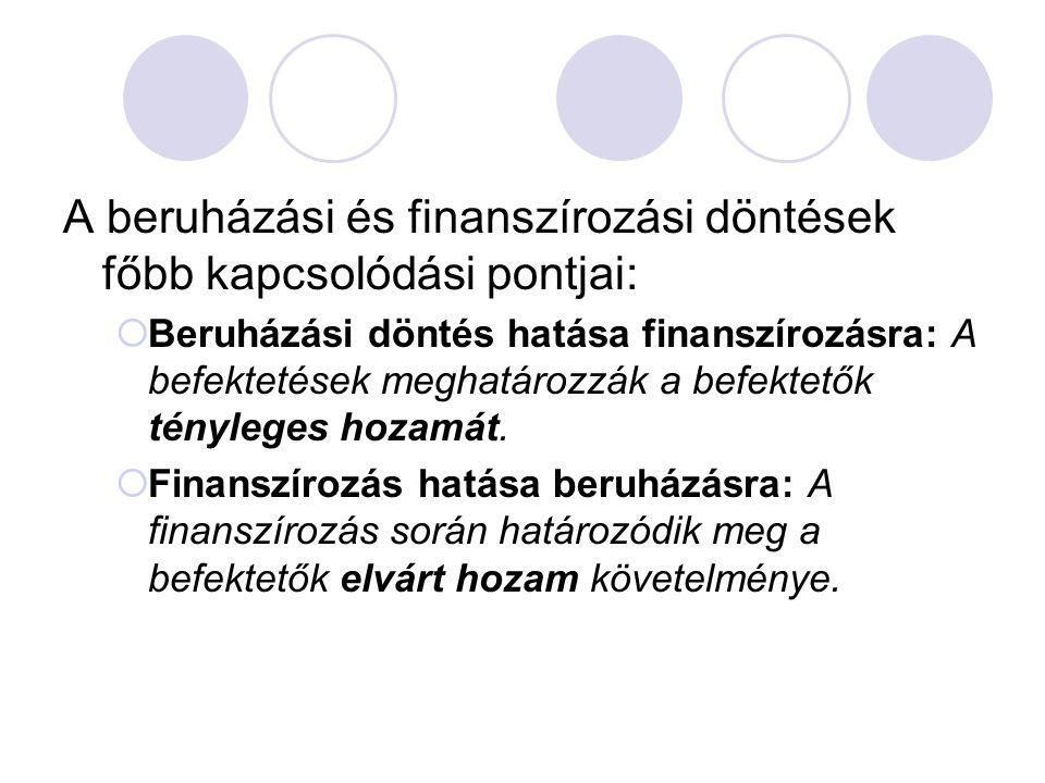 A beruházási és finanszírozási döntések főbb kapcsolódási pontjai: