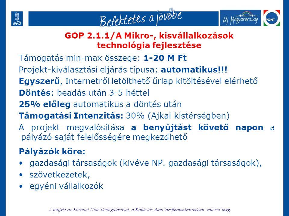 GOP 2.1.1/A Mikro-, kisvállalkozások technológia fejlesztése