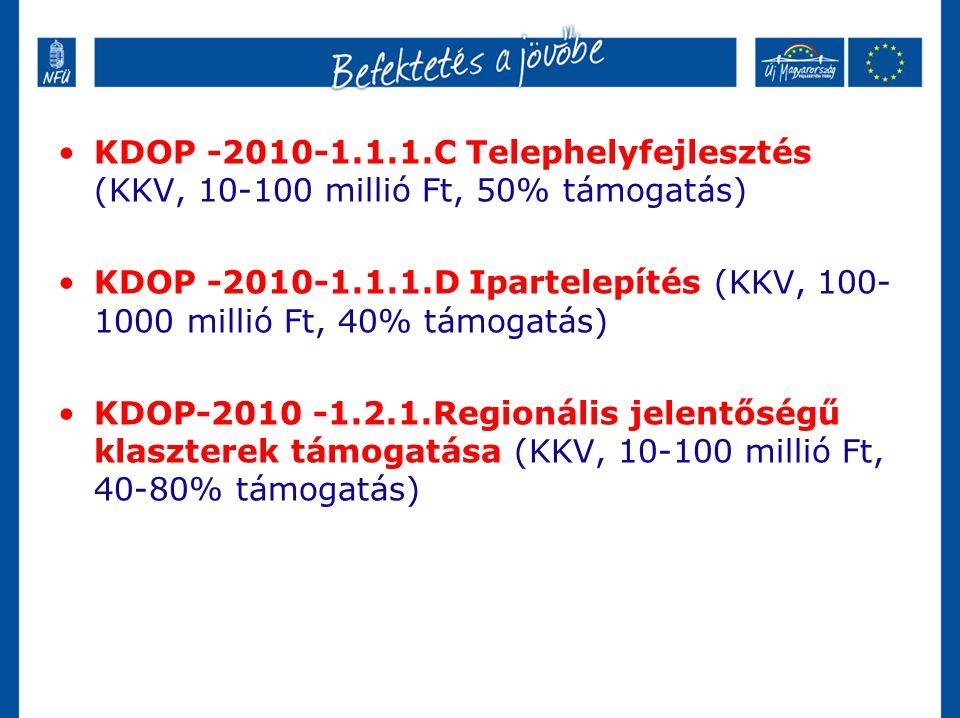 KDOP -2010-1.1.1.C Telephelyfejlesztés (KKV, 10-100 millió Ft, 50% támogatás)