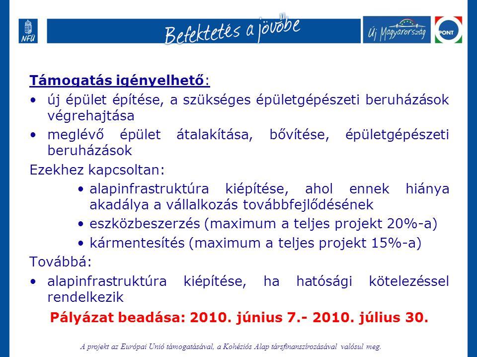 Pályázat beadása: 2010. június 7.- 2010. július 30.