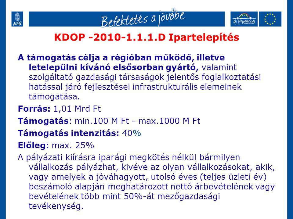 KDOP -2010-1.1.1.D Ipartelepítés