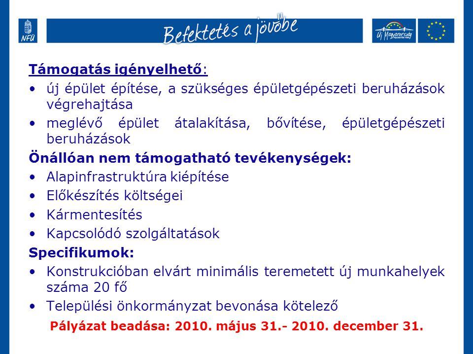 Pályázat beadása: 2010. május 31.- 2010. december 31.