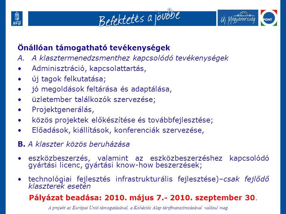 Pályázat beadása: 2010. május 7.- 2010. szeptember 30.