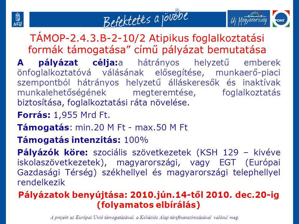 TÁMOP-2.4.3.B-2-10/2 Atipikus foglalkoztatási formák támogatása című pályázat bemutatása