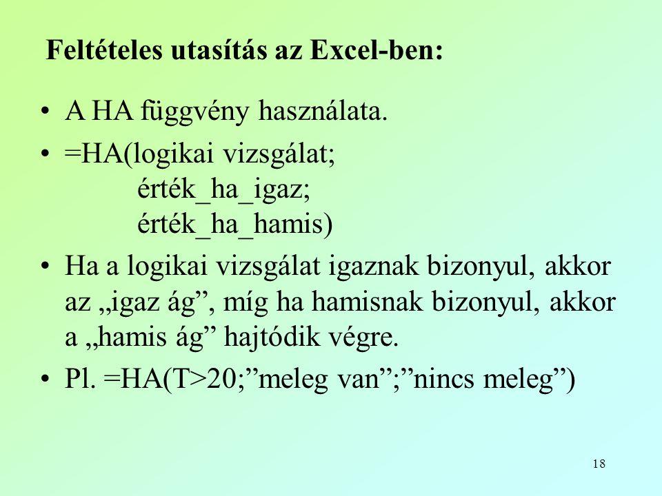 Feltételes utasítás az Excel-ben: