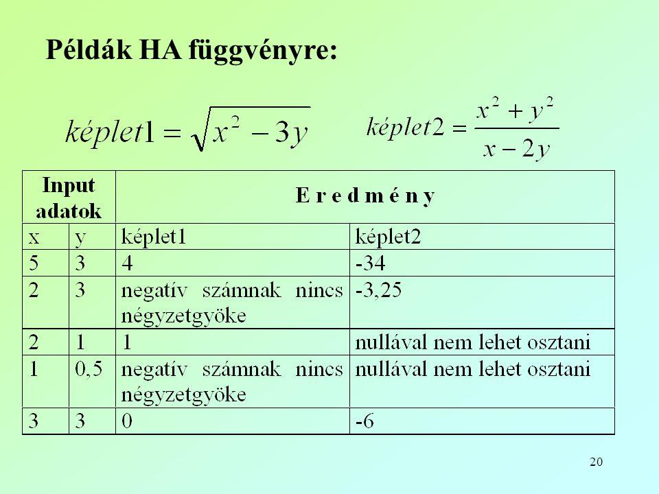 Példák HA függvényre: