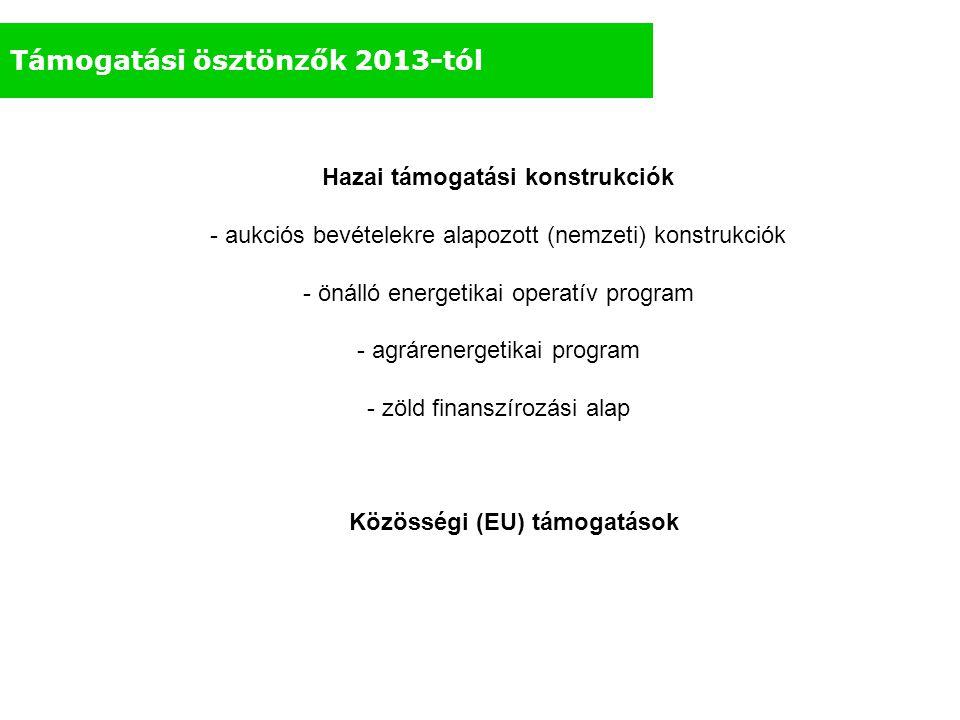 Hazai támogatási konstrukciók Közösségi (EU) támogatások