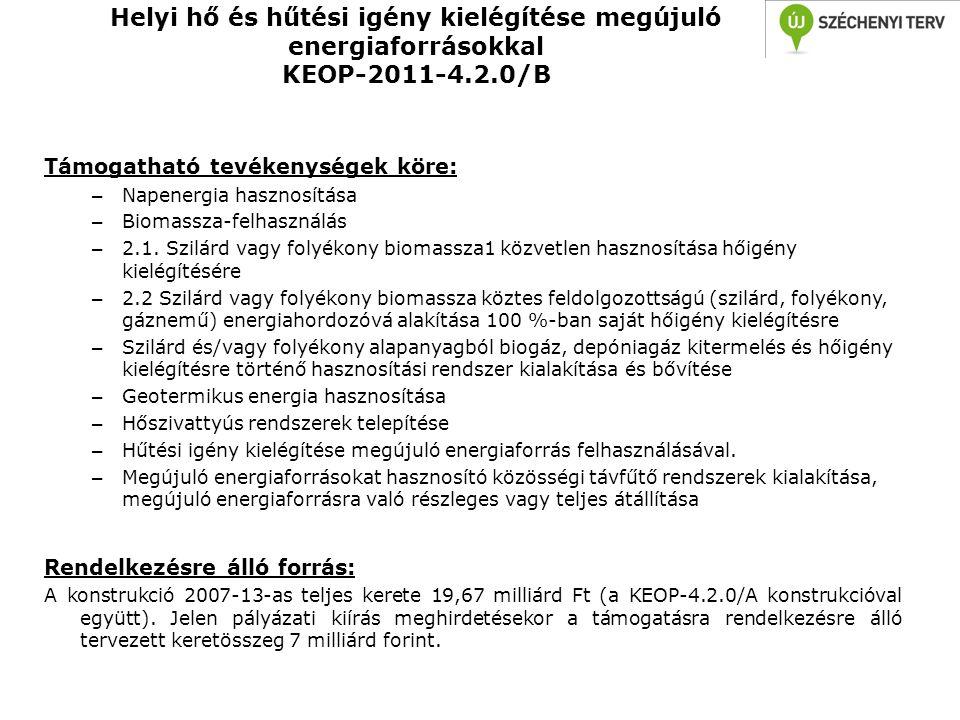 Helyi hő és hűtési igény kielégítése megújuló energiaforrásokkal KEOP-2011-4.2.0/B