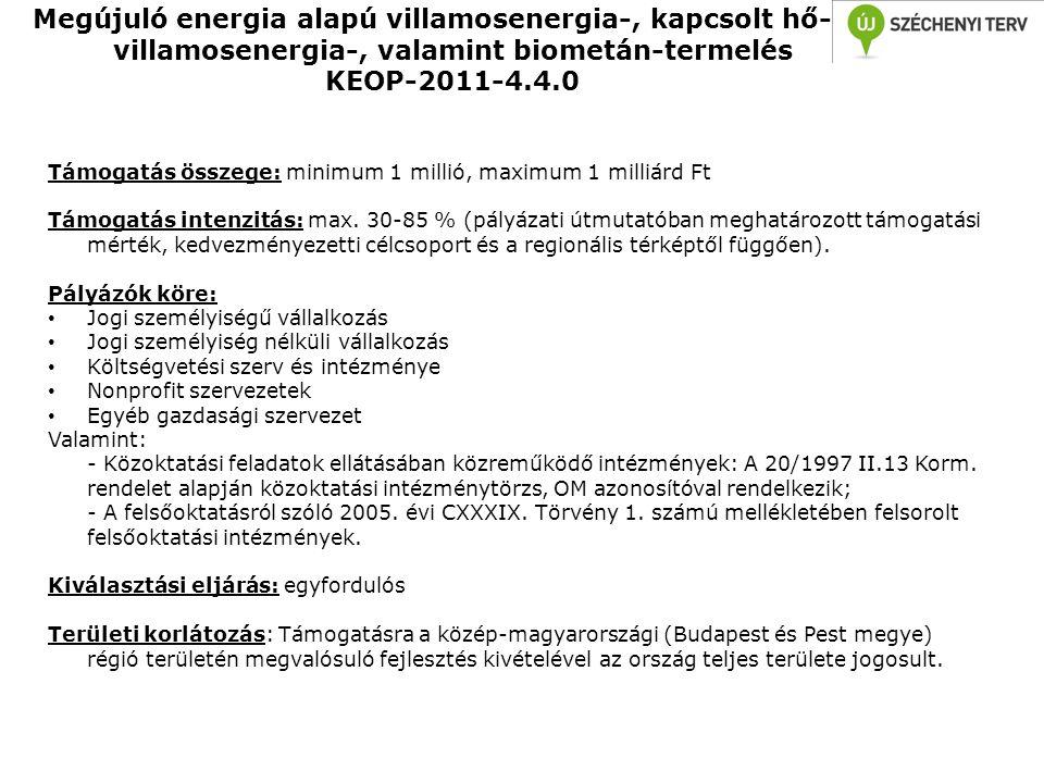 Megújuló energia alapú villamosenergia-, kapcsolt hő- és villamosenergia-, valamint biometán-termelés KEOP-2011-4.4.0