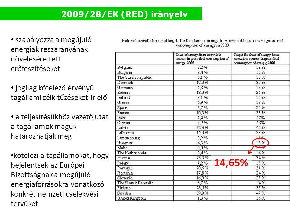 2009/28/EK (RED) irányelv szabályozza a megújuló energiák részarányának növelésére tett erőfeszítéseket.