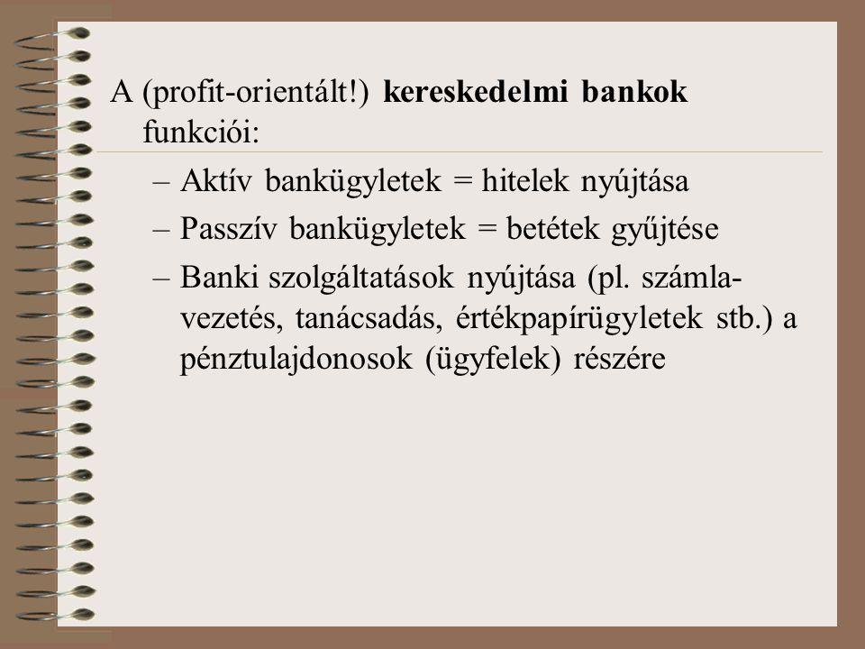 A (profit-orientált!) kereskedelmi bankok funkciói: