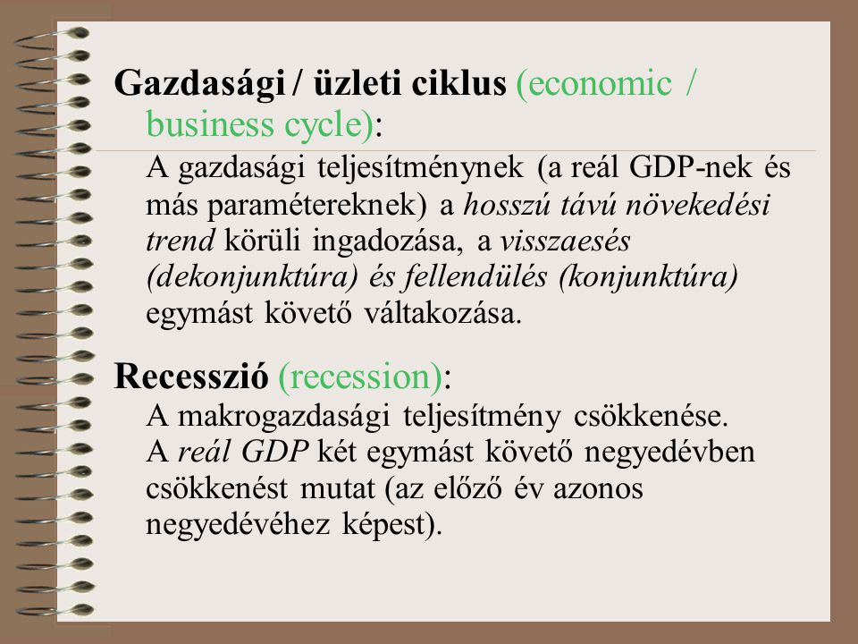 Gazdasági / üzleti ciklus (economic / business cycle):