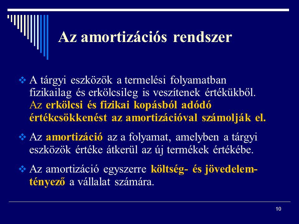 Az amortizációs rendszer