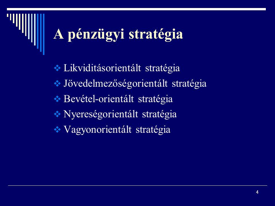 A pénzügyi stratégia Likviditásorientált stratégia