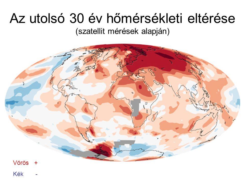 Az utolsó 30 év hőmérsékleti eltérése (szatellit mérések alapján)