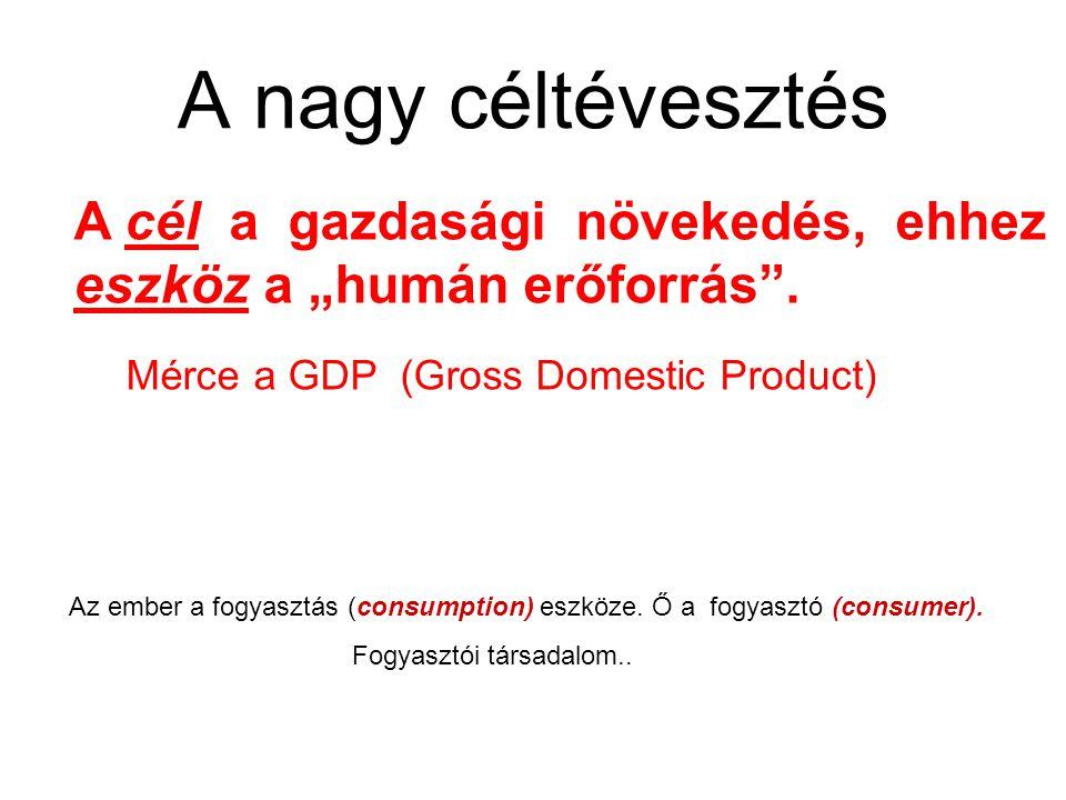 """A nagy céltévesztés A cél a gazdasági növekedés, ehhez eszköz a """"humán erőforrás . Mérce a GDP (Gross Domestic Product)"""