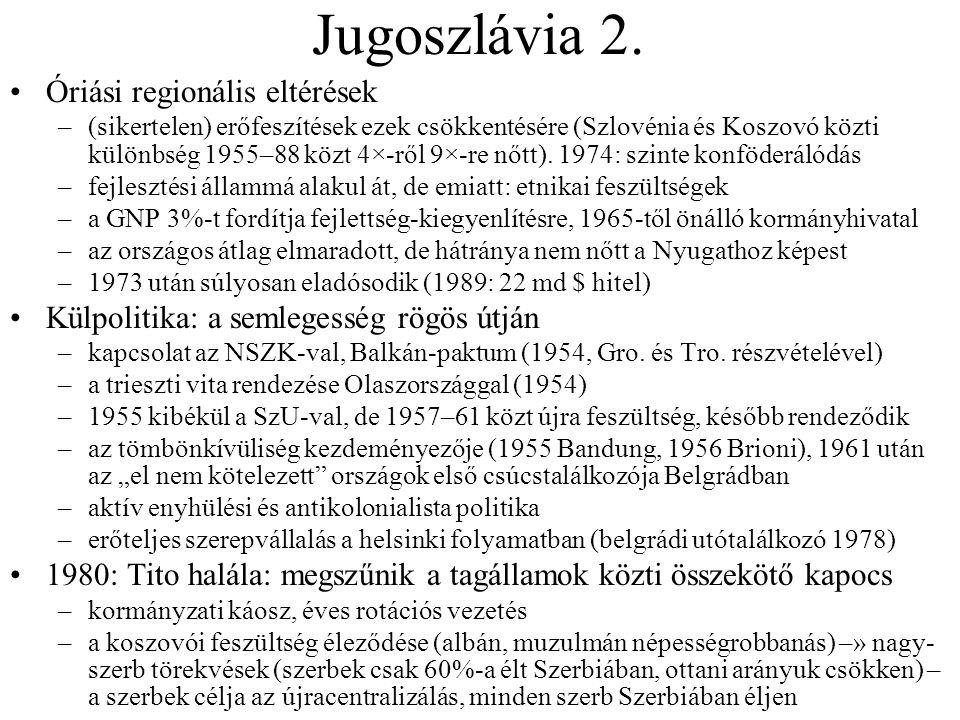 Jugoszlávia 2. Óriási regionális eltérések