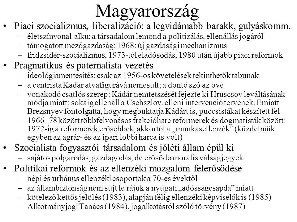 Magyarország Piaci szocializmus, liberalizáció: a legvidámabb barakk, gulyáskomm.