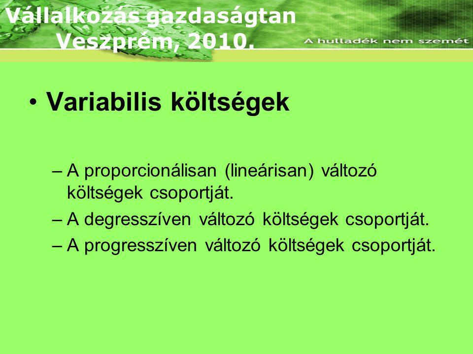 Variabilis költségek Vállalkozás gazdaságtan Veszprém, 2010.