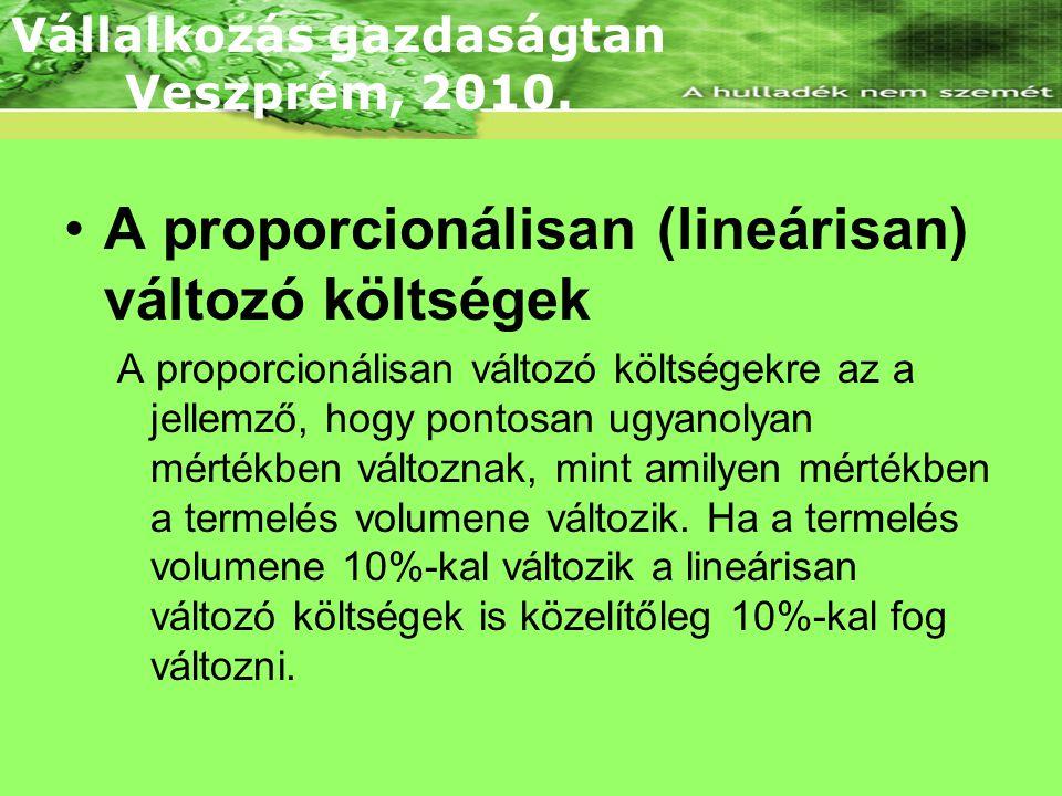 A proporcionálisan (lineárisan) változó költségek