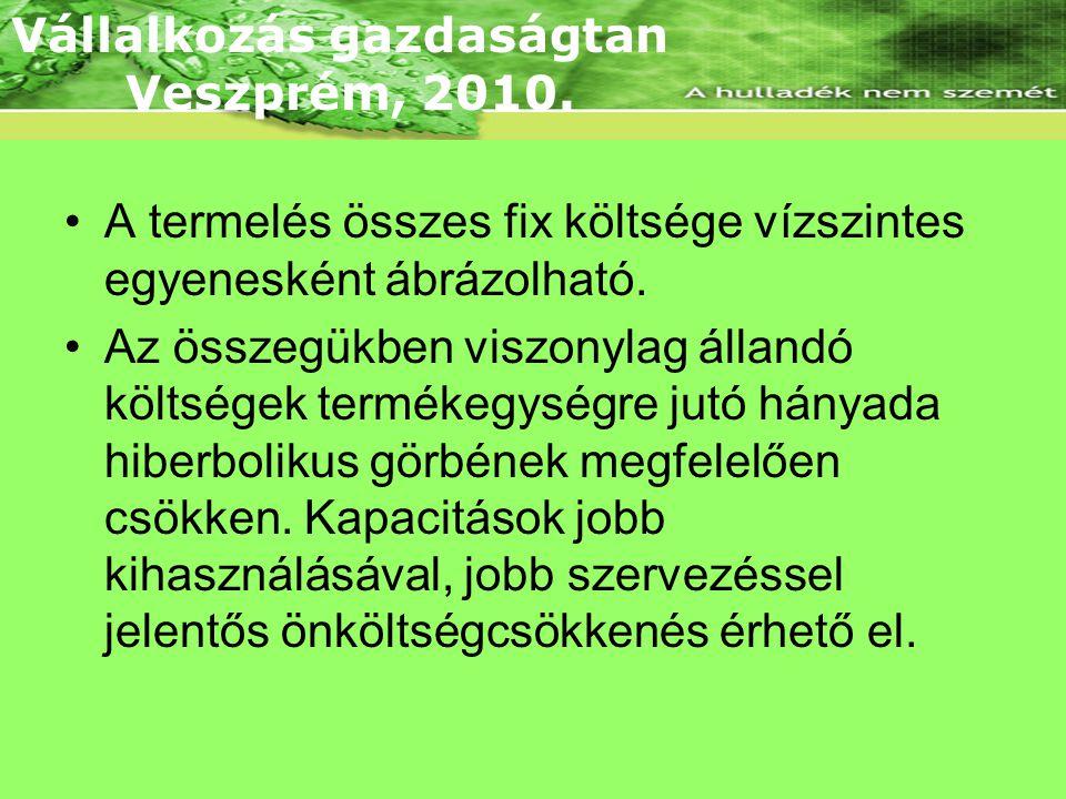 Fix költség Vállalkozás gazdaságtan Veszprém, 2010.
