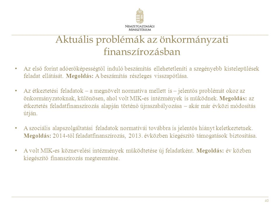 Aktuális problémák az önkormányzati finanszírozásban