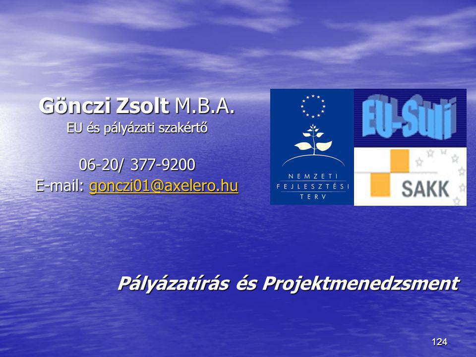 Gönczi Zsolt M.B.A. Pályázatírás és Projektmenedzsment 06-20/ 377-9200