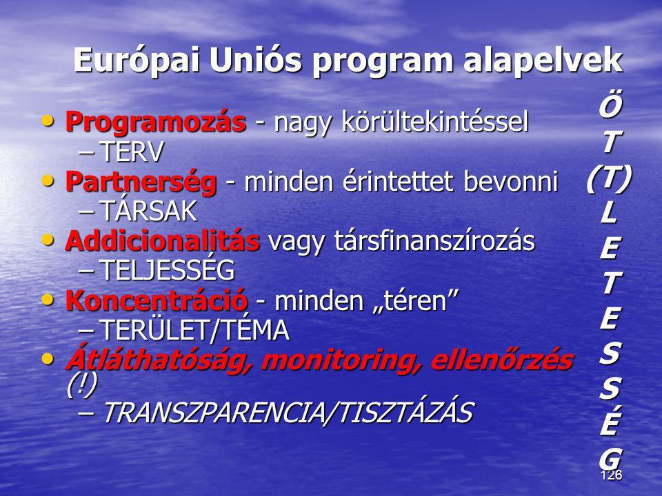 Európai Uniós program alapelvek