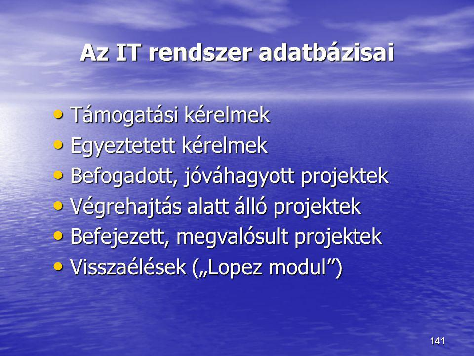 Az IT rendszer adatbázisai