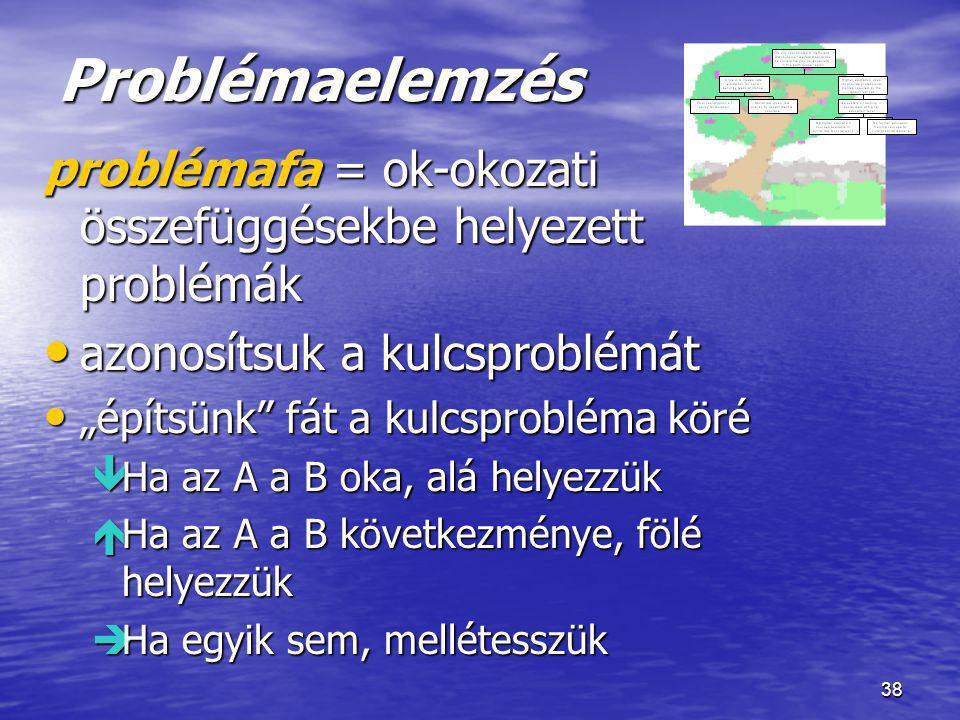 Problémaelemzés problémafa = ok-okozati összefüggésekbe helyezett problémák. azonosítsuk a kulcsproblémát.
