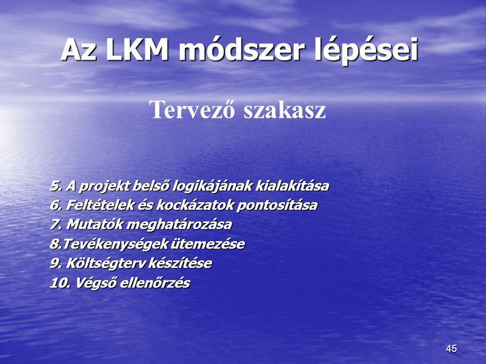 Az LKM módszer lépései Tervező szakasz