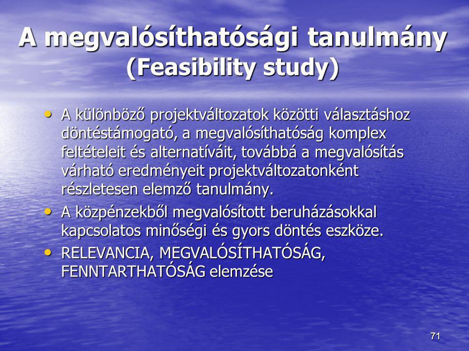 A megvalósíthatósági tanulmány (Feasibility study)