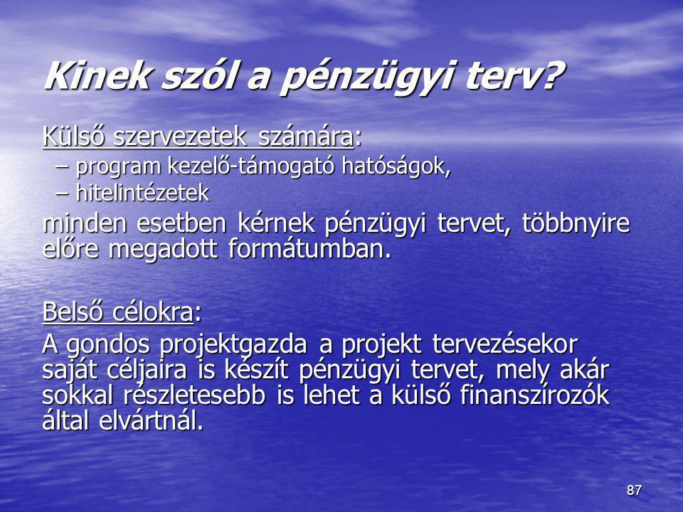 Kinek szól a pénzügyi terv