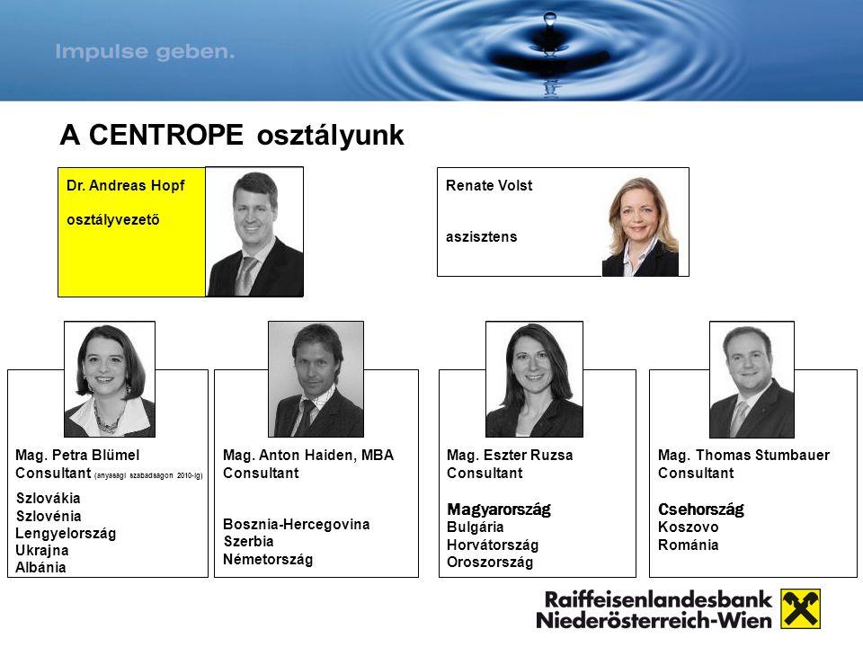 A CENTROPE osztályunk Magyarország Csehország Dr. Andreas Hopf